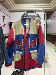 日本古著 罩衫 雙面穿 民族風 幾何 外套 紅白藍卡其