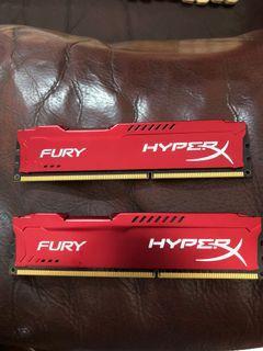 金士頓 Kingston DDR3-1866 記憶體 FURY HyperX  8GB (4gx2) 紅色款