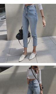 褲頭設計高腰牛仔褲 M號
