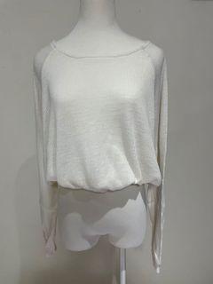 Airspace 白色 針織 上衣 寬袖 可愛 鬆緊 造型 #支持