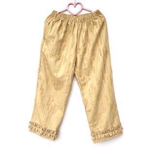 Boom boom kidz ::: 設計師品牌立體肌理百摺小硫磺色日系鬆緊腰寬褲✨設計師品牌