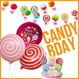 Candy Lollipop Happy Birthday Foil Balloons Banner Cake Topper Party Needs