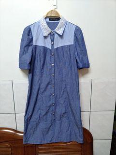 (全新)韓國品牌EASY ZONE蕾絲領口牛仔藍洋裝-S