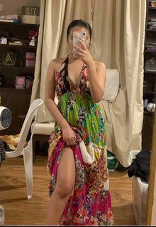 Floral Print Bohemian Style Tie Up Backless Plunging Neckline Maxi Summer Beach Dress