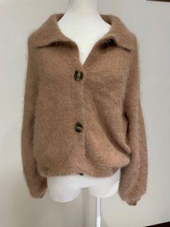 Merric22 棕色 領子 毛毛 寬袖 外套 可愛 保暖  #支持