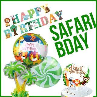 Safari Animals Happy Birthday Banner Foil Balloons Cake Topper Party Needs