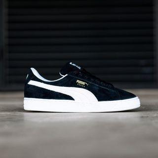 Sepatu Puma Suede Black White BW Padding White Original 100%