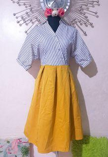 Stripes mustard Polodress