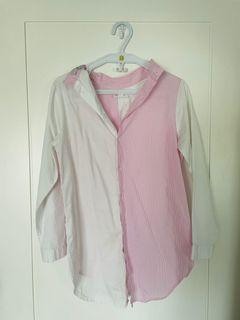Unfold pink and white button down