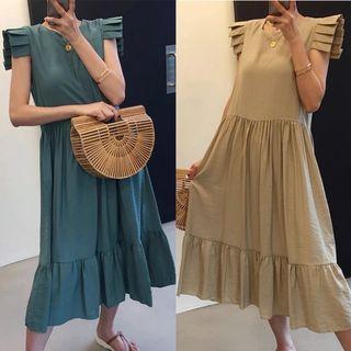🍒2 colors Midi dress pleated sleeves cd71221
