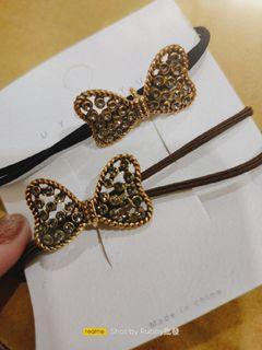 蝴蝶結鑲鑽髮圈/綁綁/髮飾類一組兩條