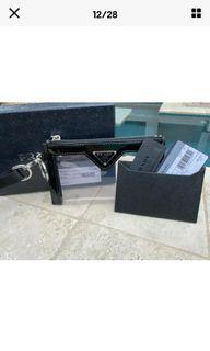 徵求 此款 黑色 Prada key pouch  黑色  透明pvc 零錢信用卡