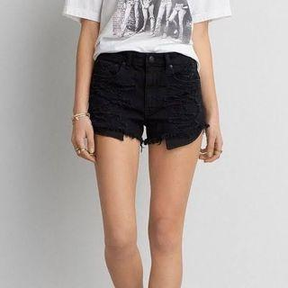 American Eagle Black Distressed Shorts