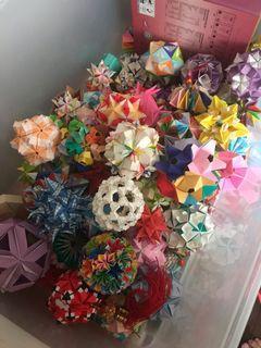 Assorted handmade origami and kusudama