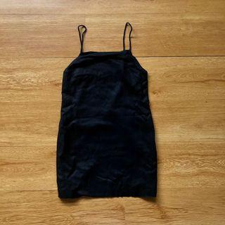 Black A-Line Linen Dress