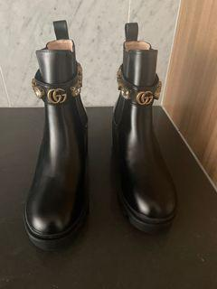 GG Leather Chelsea Boots - size 37