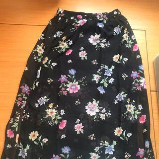 (全新剪標)H&M 花花開叉鬆緊腰雪紡裙