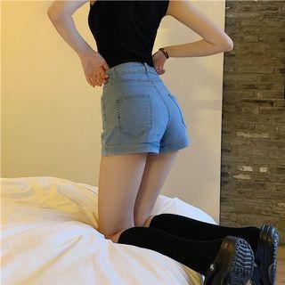 韓彈性牛仔短褲#集氣