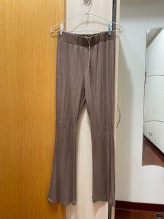 咖啡色棉質寬褲
