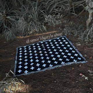 🇺🇸 歐美休閒 十字圖案 簡約風  棉線毯 沙灘巾 野餐巾 露營墊 沙發巾 地毯 掛毯 桌布 萬用毯 居家裝飾 蓋毯 兩面色