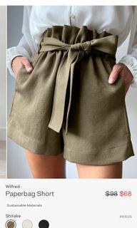 Aritzia paperbag shorts beige