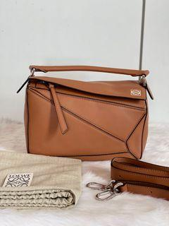 Authentic Loewe Puzzle Bag Small in Tan
