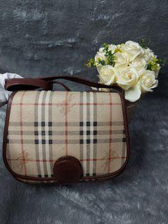 Authentic preloved vintage burberry nova check sling  bag