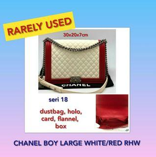 CHANEL BOY LARGE WHITE RED RHW