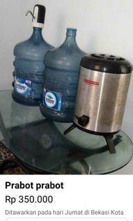 Galon Aqua 2 + pompa elektrik + meja kaca + termos panas dingin