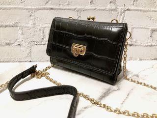 日本Heather 黑色鱷紋珠扣口金鏈帶包短夾中夾錢包