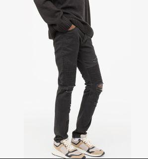【現貨】H&M 剪標品出清 黑色搖滾 彈性彈力 刀割抽鬚破壞 騎士褲 緊身窄管窄版 牛仔褲 單車褲 黑色長褲