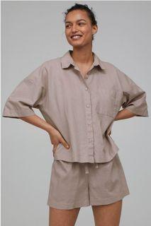 H&m linen blend coordinate 2 piece pajama shirt shorts S M L