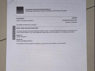 IGCSE Economics Past Paper + Jawaban (Buy 1 Get 1)