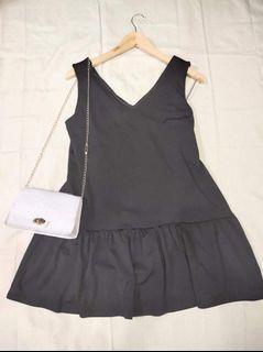 Korean Black V-Neck Casual Jumper Dress