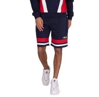 【零碼出清】L號 FILA 海軍藍 logo品牌配色 美式棉質運動休閒短褲 棉褲