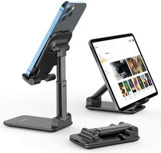 Basegard Adjustable Cell Phone Stand, Foldable Portable Desktop Table Stand Phone Holder,Angle Height Adjustable Phone Stand Holder for Desk Compatible with All Mobile Phone/iPad/Kindle/Tablet(Black)