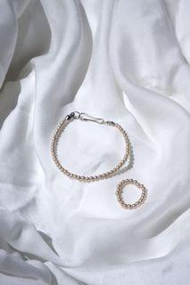 One Set Korean Beads Bracelet & Ring - Pearl   Ryvale