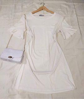 Plain White Flared Sleeves Simple Sunday Dress