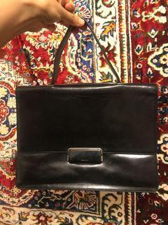 Prada 義大利製 黑色 經典 皮革 光澤 手提包 晚宴包