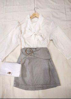 SET Korean OOTD K-style White Ribbon Blouse and Hoop Design Striped Tulip Style Skirt