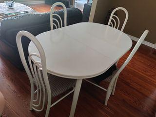 White Oval Table and Chairs