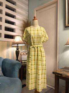 Yellow green japan katun dress