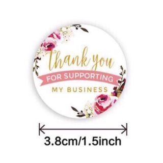 """🆕️ 50pcs Floral Pink Thank You For Supporting My Business 3.8cm/1.5"""" Inch Sticker Labels"""