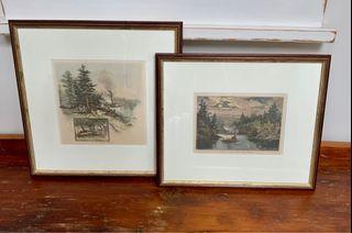 A set of 2 professionally framed and matted SCHELL & HOGAN prints of 19th century engravings in The Muskoka Lakes