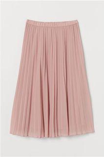 BNWT H&m Pleated Light Pink Knee length Skirt S