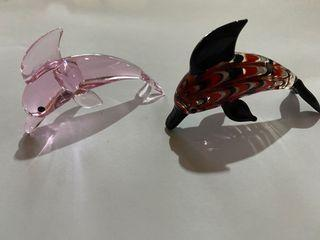 Handmade Murano Glass Dolphin Figurines