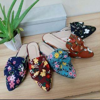 💐Ladies floral printed mules halfshoes slipon sandals