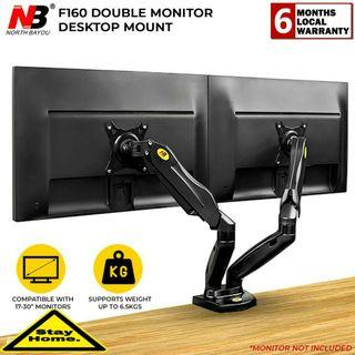NB North Bayou Dual Monitor Desk Mount Stand Full Motion Swivel Computer Monitor Arm for Two Screens 17-27 Inch with 2kg ~9kg Load Capacity for Each Display F160