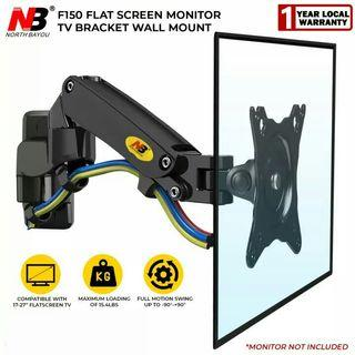 """NB North Bayou TV Monitor Wall Mount Bracket Full Motion Articulating Swivel for 17-27"""" Monitors (Load Capacity from 2KG to 7KG) Double Extension F150-B"""