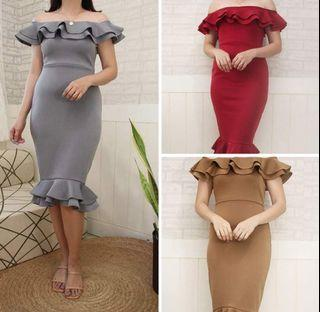 New! Onhand! 3 colors! Jade Ruffles Dress (FS: Stretch,best  fit S - Semi L frame) Colors: Gray/Maroon/Brown